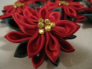 Christmas Poinsettia Kanzashi