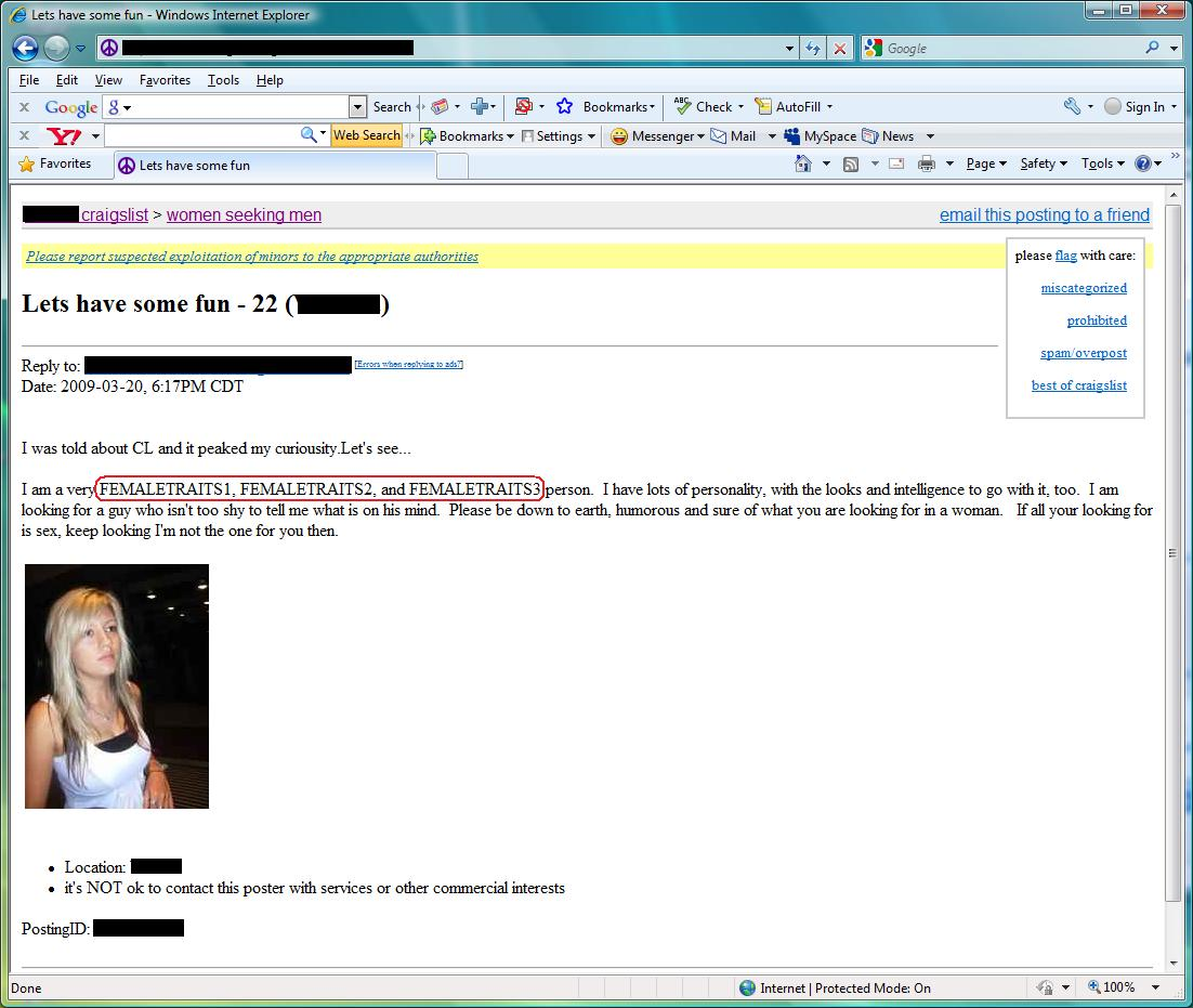 craigslist hookup success An example of a successful craigslist m4w dating ad craigslist can actually be a pretty good online but most guys can't live up to this level of writing.