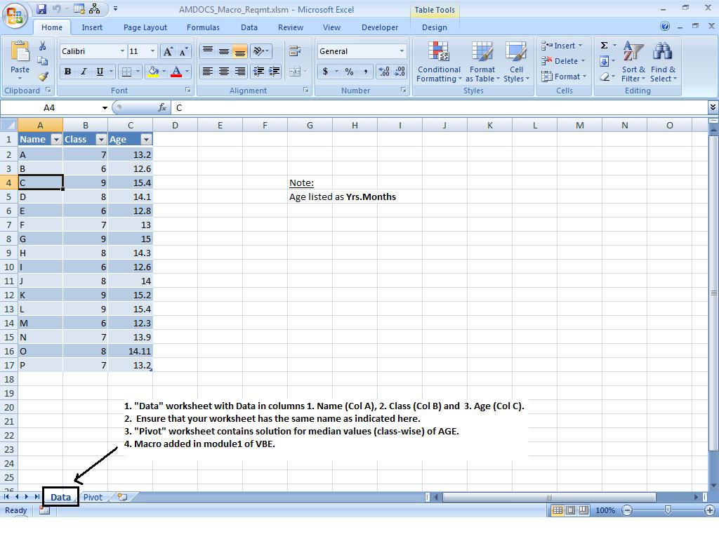 Everything About Excel: Median Value for Data using VBA-Macro