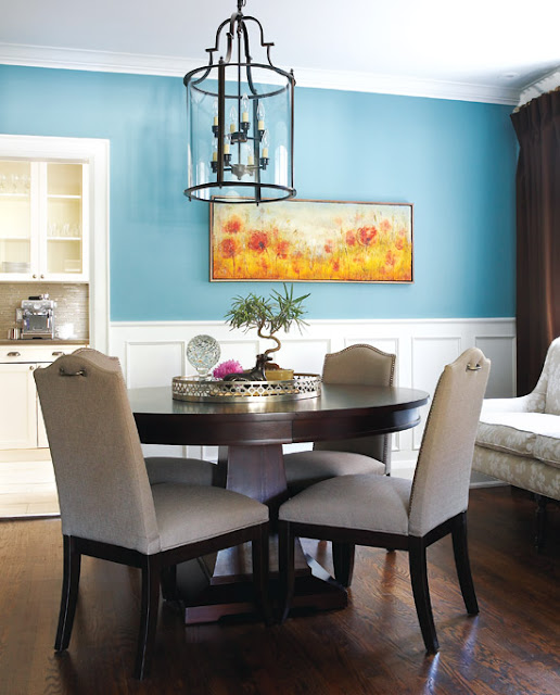 Bold lower wall color our home pinterest navy for Light blue dining room