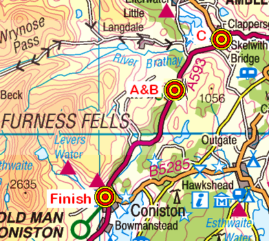 Map of the Coniston area