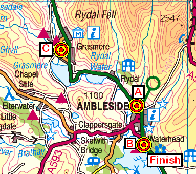 Map of the Ambleside area