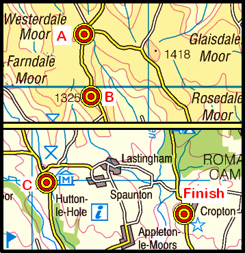 Map of the Ralph's Cross to Cropton area