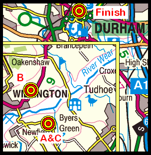 Map of the Byers Green to Durham area