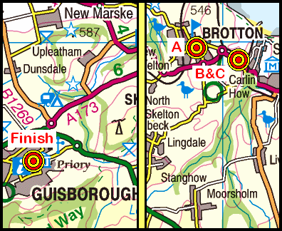 Map of the Brotton to Guisborough area