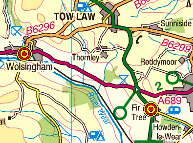 Map of the Fir Tree to Wolsingham area