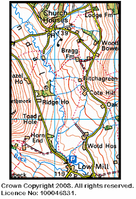 Map showing the location of the Farndale Daffodil Walk