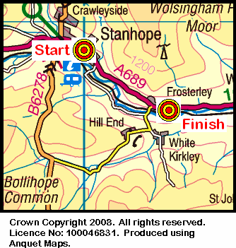 Map of the Stanhope - Frosterley area