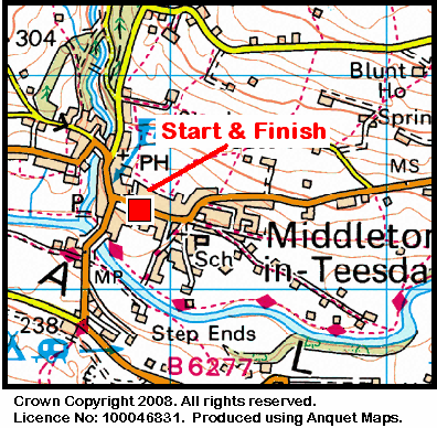Map of the Middleton-in-Teesdale area