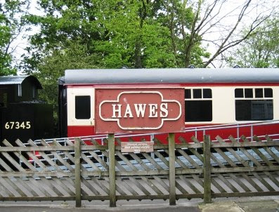 Arriving at Hawes - the station car park.