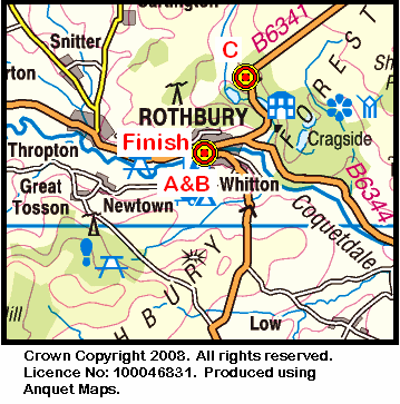 Map of the Rothbury area