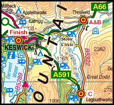 Map of the Threlkeld-Keswick area