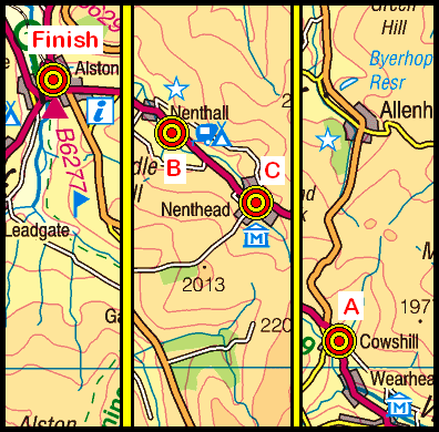 Map of the Cowshill to Alston area