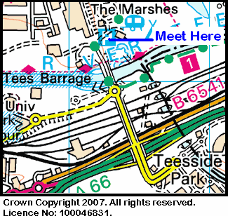 Map of Tees Barrage area.