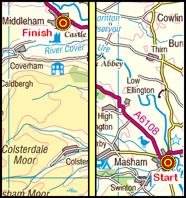 Map of the Masham-Middleham area