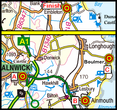 Map of the Alnwick-Embleton area