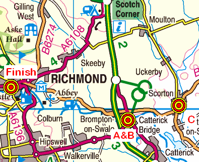 Map of the Scorton-Richmond area