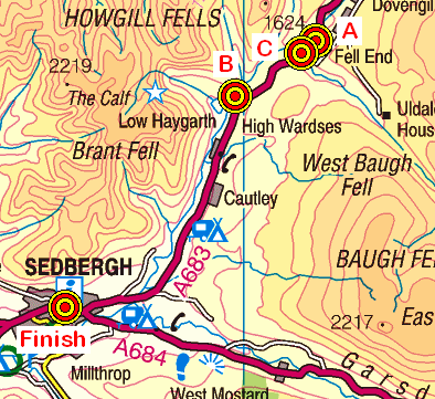 Map of the Howgill Fells area