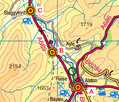 Map of the Alston-Haltwhistle area
