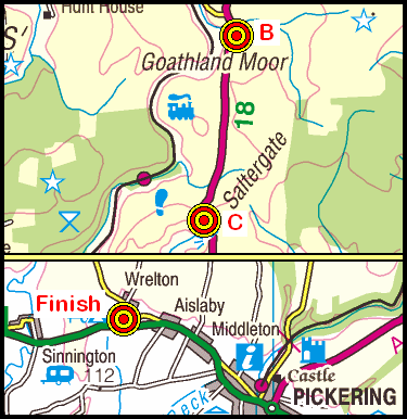 Map of the Ellerbeck Bridge to Wrelton area