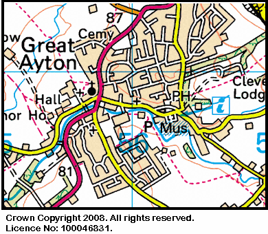 Map of the Royal Oak area in Great Ayton
