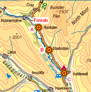 Map of the Kettlewell-Buckden area