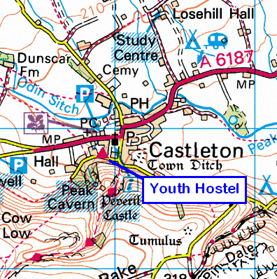 Map of the Castleton (Derbyshire) area
