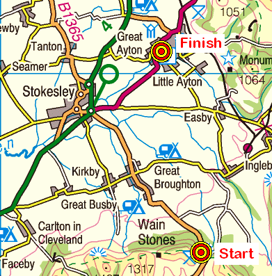 Map of the Clay Bank-Great Ayton area