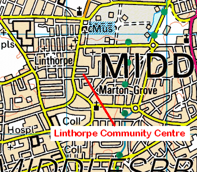 Map of the Linthorpe Community centre area