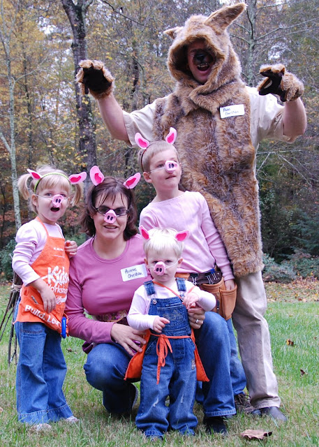 Each year we coordinate our Halloween costume as a family. This year we went as the Three Little Pigs. My good sport of a husband went as the big bad wolf ...  sc 1 st  Chickenville & Chickenville: The Three Little Pigs - Family Halloween Costume