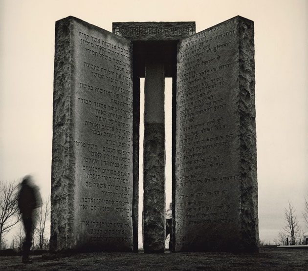 [Click to View Large] The Georgia Guidestones may be the most enigmatic monument in the US: huge slabs of granite, inscribed with directions for rebuilding civilization after the apocalypse. Only one man knows who created them—and he's not talking. Photo: Dan Winters