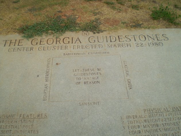 Georgia Guidestones Plaque