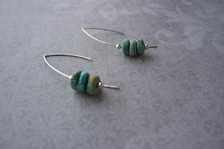 sterling silver turquoise wishbone earrings