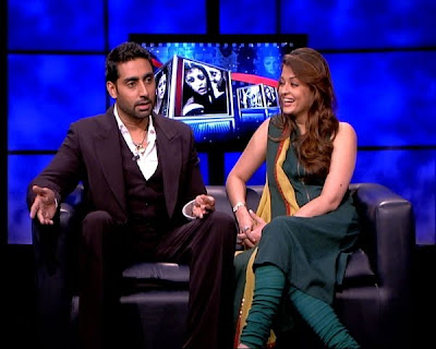 Aishwarya and Abhishek being interviewed by Rajeev masand
