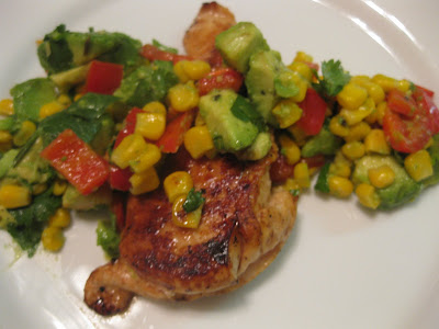 Lemon Chicken with an Avocado, Cilantro and Red Pepper Salad - What's ...