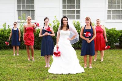 Chic impression marine wedding fuschia and navy for Marine wedding bridesmaid dresses