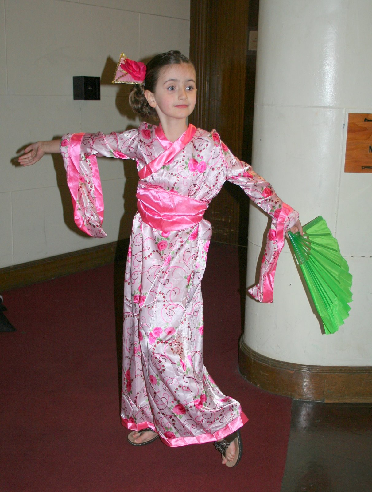 my long and lovely Japanese fan dance girl in her costume that was WAY TOO  BIG for her.oh well she looked beautiful anyways