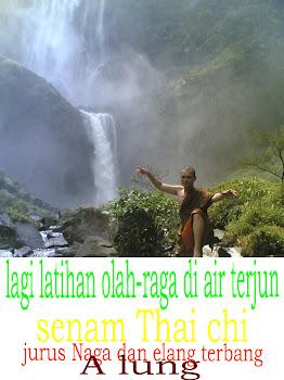 Gambar lagi latihan Thai chi di air terjun