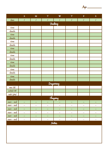 Create at Home: Free Download: Baby Care Chart