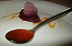 Experimenting at home - soft saffron gel with purée and air of beetroot