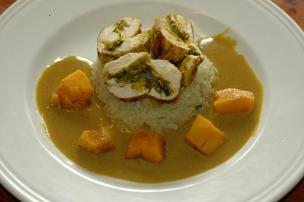 Kroeung Marinated Chicken Roulade with Pumpkin, Spinach and Mushroom on a bed of Chicken and Thai Basil Pilaf with Caramelized Pumpkin and a Reduced Sour Coconut and Lemongrass Sauce