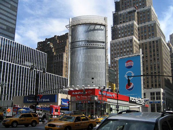 Penn Station Blank Billboard 1 - Like a giant naked beer can, on 7th Ave. near 34th St.