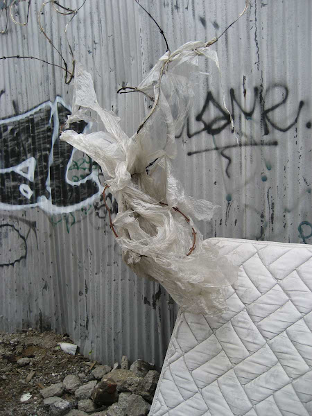 Barbed Wire Angel - Seen on Java St. near Provost St. in Greenpoint.