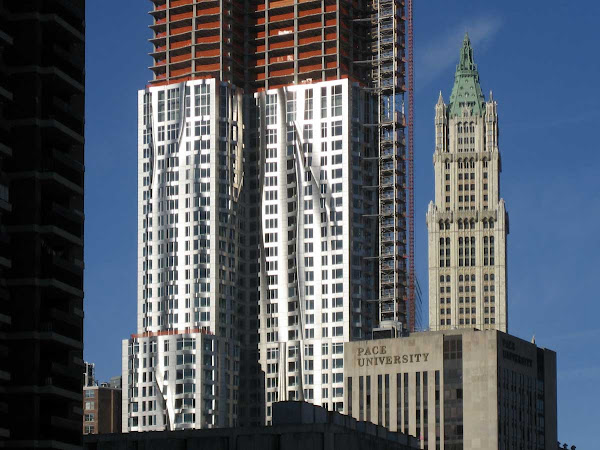 Gehry Climbs Woolworth - When the new facade was about to climb past the classic, from the Brooklyn Bridge.