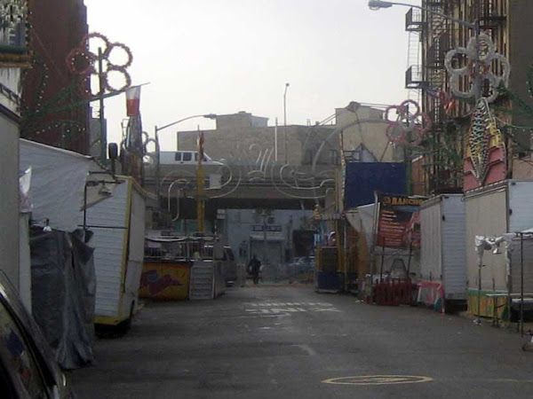 Early Morning Carnival - At Williamsburg's 2010 Giglio fest, with the elevated BQE at the end of the street.