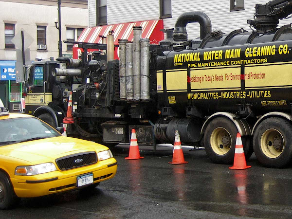 Mad Max Roto-Rooter Truck - Unclogging arteries outside Palace Fried Chicken at Nassau & Manhattan Aves. in Greenpoint.