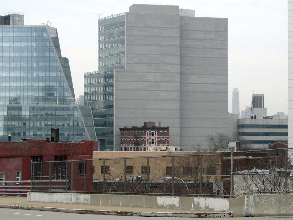 Dwarf Building - Middle bottom center, against the gray expanse, in Long Island City.