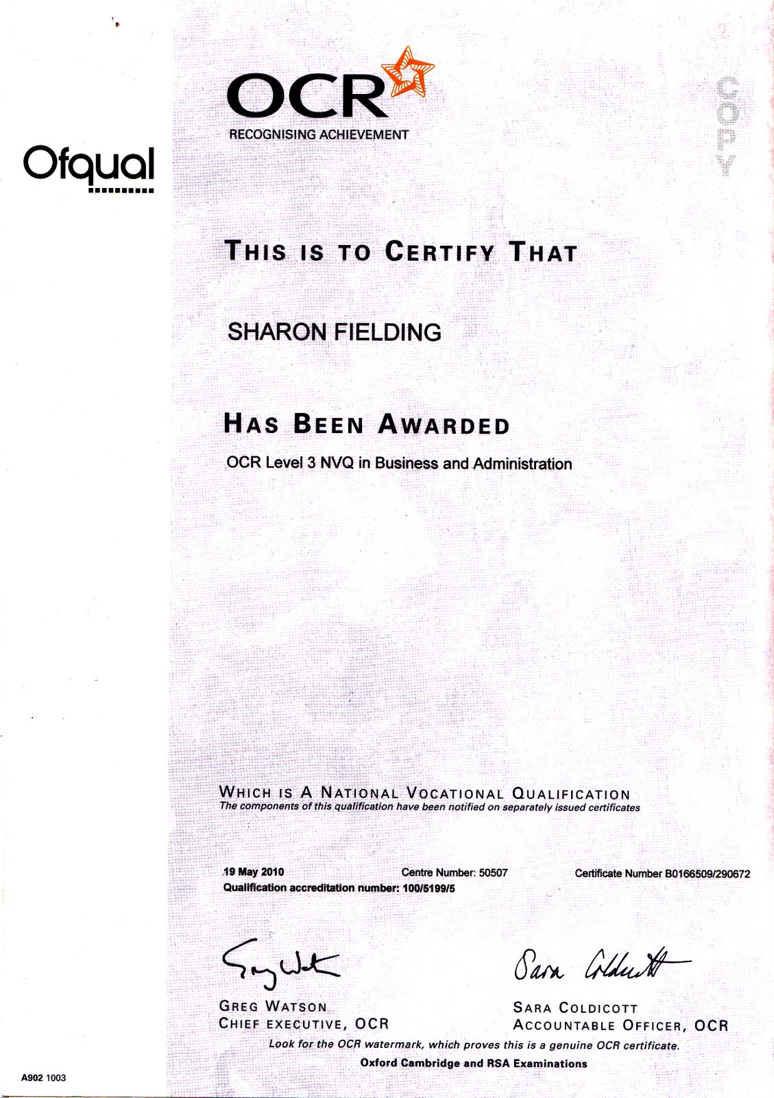 business and administration level 2 nvq