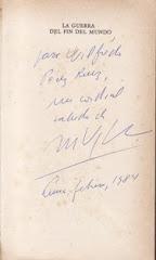 """""""La guerra del fin del mundo"""", autografiado por Mario Vargas Llosa - 1984."""