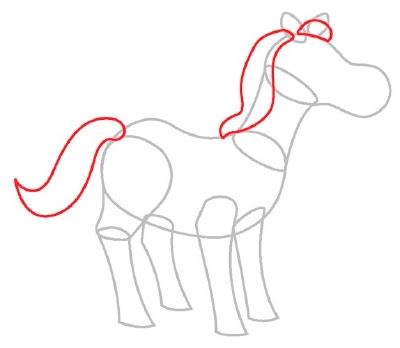 draw horse. Step 3: Draw two long S shapes